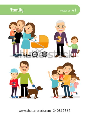 Happy family characters. Parents and children. Vector illustration - stock vector