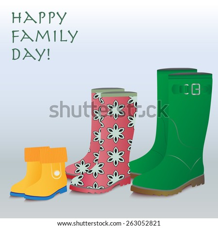 Happy family concept background. Three couple of gumboots-mother, father and baby.  - stock vector