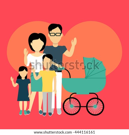 Happy family concept banner design flat style. Young family man and a woman with a son and daughter and a stroller for a newborn. Mother and father with child happiness lifestyle, vector illustration - stock vector