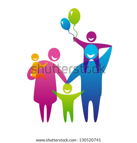 Happy family concept: father, mother and three children. - stock vector