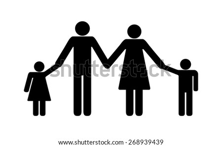 Happy family concept sign, black silhouette design of mother, father, son and daughter holding hands. symbol of parents and kids. vector art image illustration icon, isolated on white background - stock vector