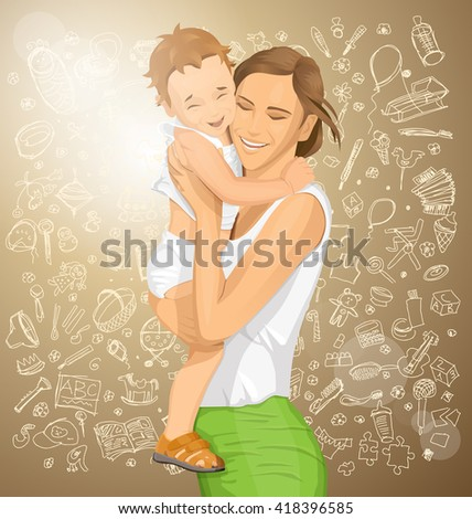 Happy family concept. Vector woman with child - stock vector