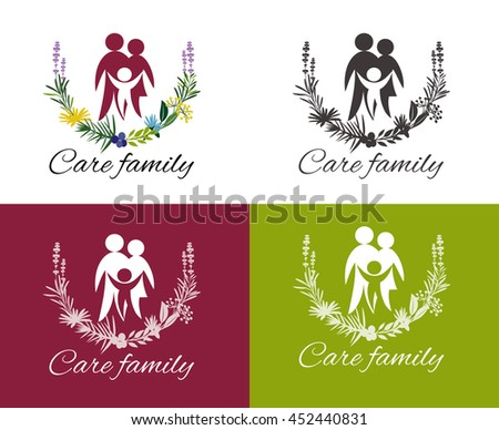 Happy family concepts: father, mother, daughter and son together. Family care logo vector design. Child Care and Medical Services. Child freedom and active lifestyle. Love family. - stock vector