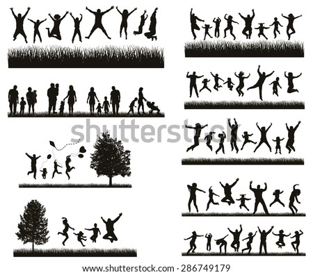 Happy Family . Conceptual background. Set of Men's, Women's and Children Silhouettes.  Active People on the Party and Nature. - stock vector