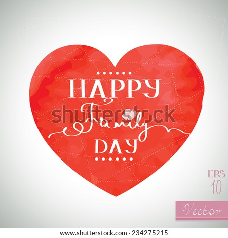 Happy Family Day greeting card template - stock vector