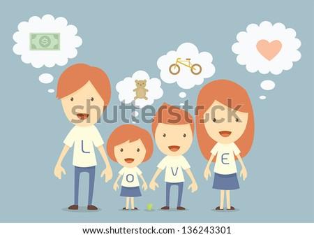 happy family, dream - stock vector