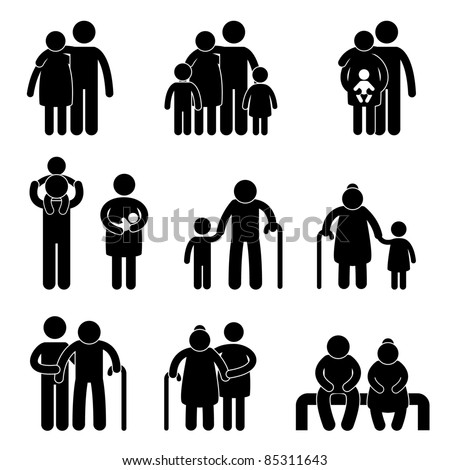 Happy Family Father Mother Grandmother Grandfather Children Son Daughter Baby Infant Toddler Old Man Woman Grandchildren Husband Wife Parent Together Icon Sign Symbol Pictogram - stock vector