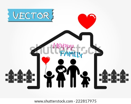 Happy Family (father,mother,infant,son,daughter in happy home) - stock vector