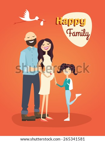 Happy Family. Father, Pregnant Mom and Daughter - stock vector
