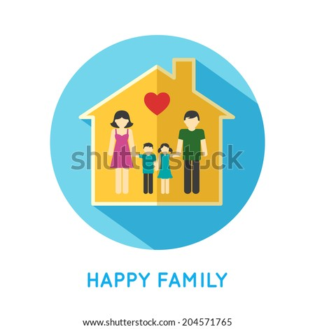 Happy family flat concept icon with parents and two children at home vector illustration - stock vector