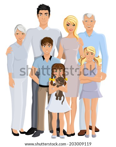 Happy family generation parents grandparents and kids full length portrait on white background vector illustration - stock vector
