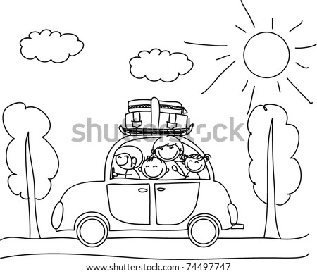 happy family going on holiday by car, black and white coloring - stock vector