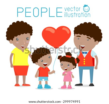 Happy family , Happy family gesturing with cheerful smile, Parents with kids. Vector colorful illustration in flat design isolated on white  background, african-american family, wedding, pregnant, old - stock vector