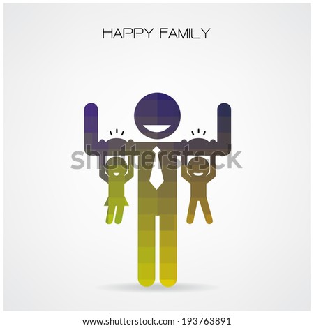happy family having fun,daughter and son hang on daddy 's arms,father 's day concept,happy father 's day background.vector illustration - stock vector