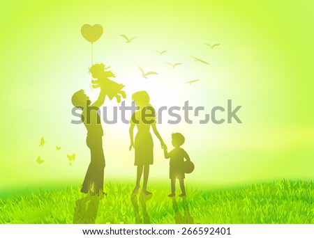 Happy family having fun in a field during sunrise. - stock vector