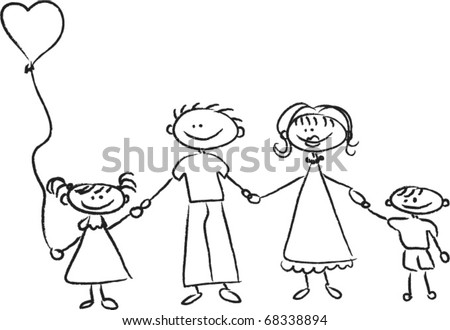 Happy family holding hands Hand drawing Isolated on white background - stock vector