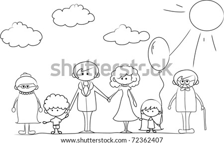 Happy family holding hands Hand drawing Isolated on white background