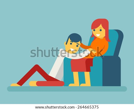 Happy Family Husband and Pregnant Wife Sitting on Couch Hugging Child in Stomach Icon Symbol Flat Design Vector Illustration - stock vector