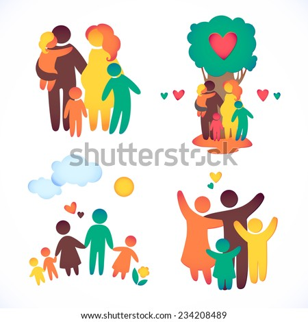 Happy family icon multicolored in simple figures  set . Children, dad and mom stand together . Vector can be used as logotype - stock vector