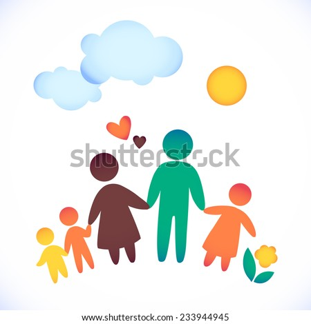 Happy family icon multicolored in simple figures. Three children, dad and mom stand together. Vector can be used as logotype - stock vector