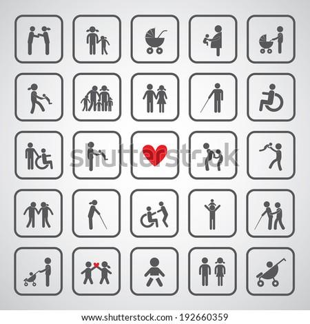happy family icon on gray background  - stock vector