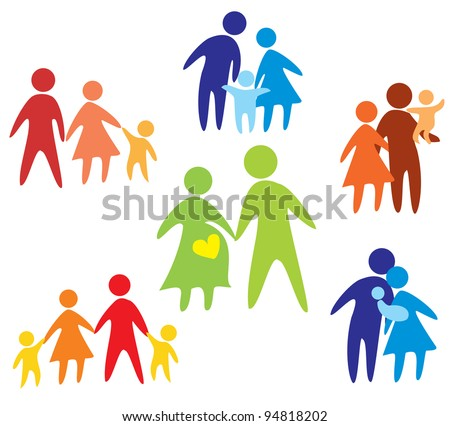 happy family icons collection multicolored in simple figures - stock vector
