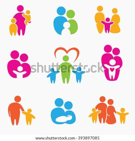 happy family icons, vector symbols collection - stock vector