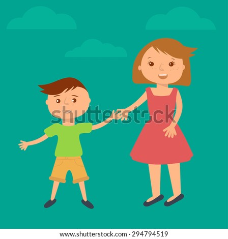 Happy family illustration. Brother and sister portrait in flat style. Boy and girl holding hands. - stock vector