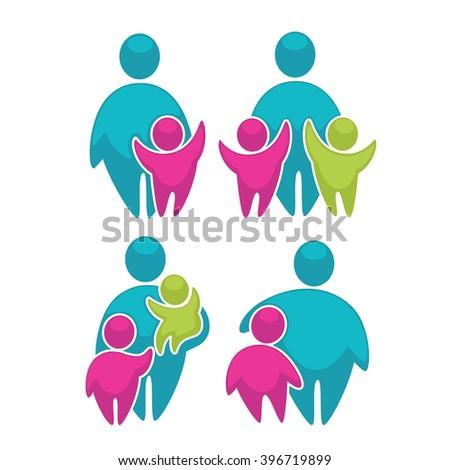 happy family in bright color, vector logo concept collection - stock vector
