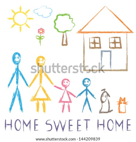 Happy family in front of the house - Home sweet home - stock vector