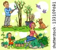 Happy family in garden planting flowers and pruning trees, hand drawn cartoon illustration - stock