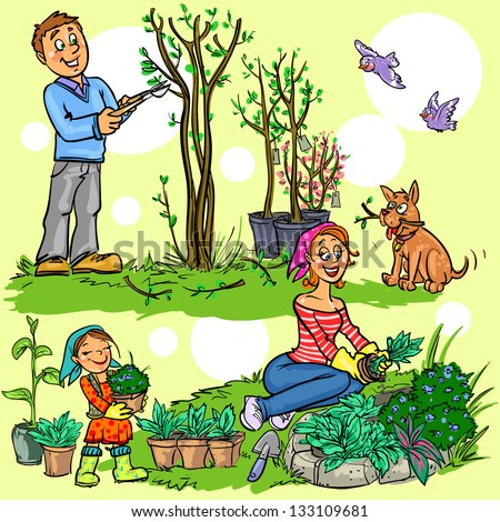 Happy family in garden planting flowers and pruning trees, hand drawn cartoon illustration - stock vector