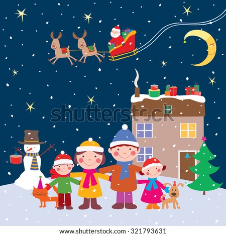 happy family in the christmas night - stock vector