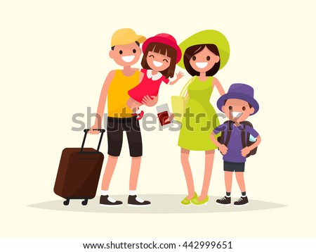 Happy Family Is Going On The Summer Vacation Vector Illustration Of A Flat Design