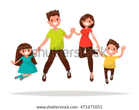 Happy family is jumping. Father mother daughter and son holding hands together jumped. Vector illustration of a flat design