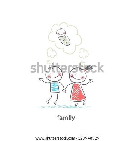 Happy family is waiting for the birth. Illustration. - stock vector