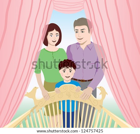 happy family  looking at the baby - stock vector