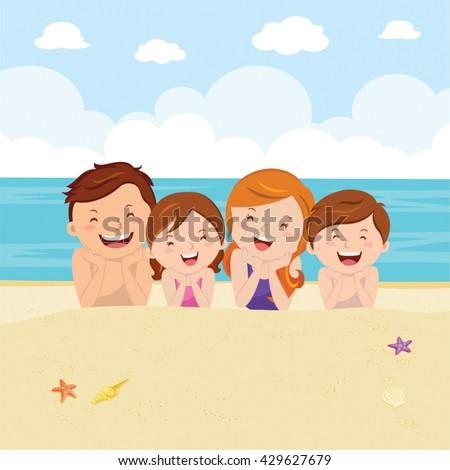 Happy family lying on sand. Family having fun at the beach enjoying nature. - stock vector