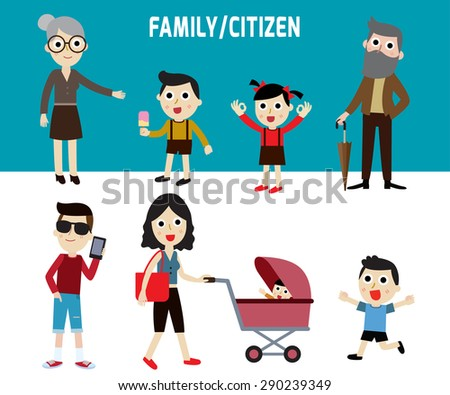 happy family members.