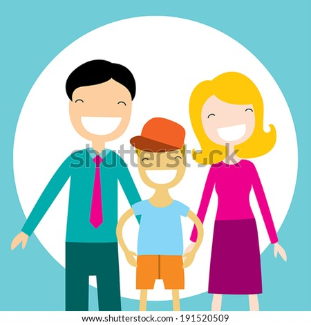 Happy family members: parents and their son. Lovely cartoon characters.Vector illustration - stock vector