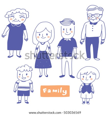Happy family members smiling. Father, mother, grandfather, grandmother, daughter and son. Vector illustration.