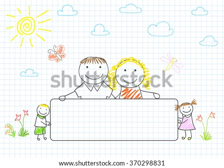 Happy family - mom, dad and two children with banner. Sketch on notebook page - stock vector