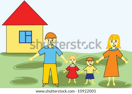 happy family mother father and two child on house and green lawn - stock vector
