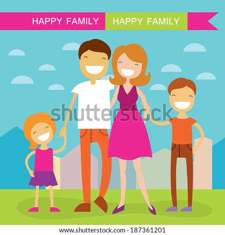 Happy family of four members: parents,their son and daughter. Lovely cartoon characters on nature sunny summer day background.Vector illustration - stock vector