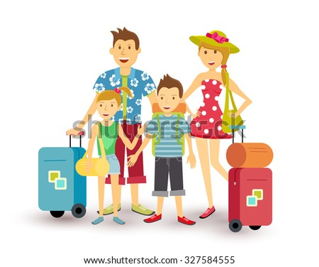 Happy family of parents and children travel summer vacation with suitcase, people group illustration in flat art style. EPS10 vector. - stock vector