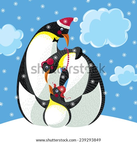 Happy Family Of Three Penguins - stock vector
