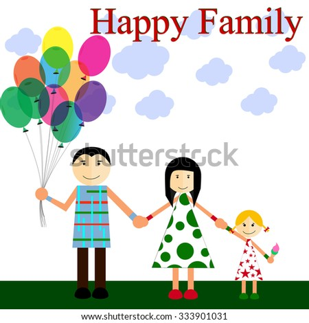 Happy family on a walk in the open air . - stock vector