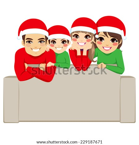 Happy family on Christmas day posing for portrait with Santa Claus hats - stock vector