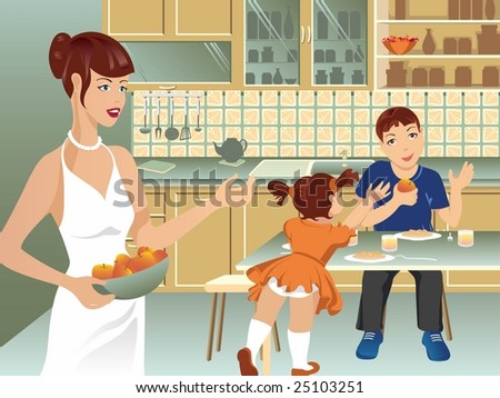 Happy family on kitchen during mealtime