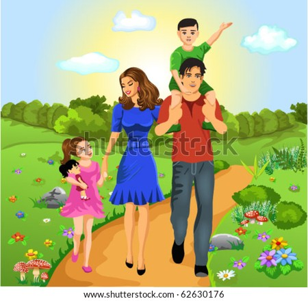 happy family on the road of life - stock vector